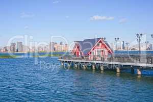 Little red house on pier