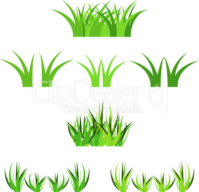 Set of vector green grass horisontal bunches isolated on white. Cartoon props decoration