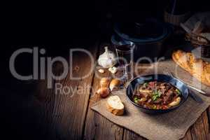 classic beef goulash with peppers and onions