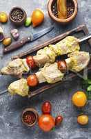Raw shish kebab