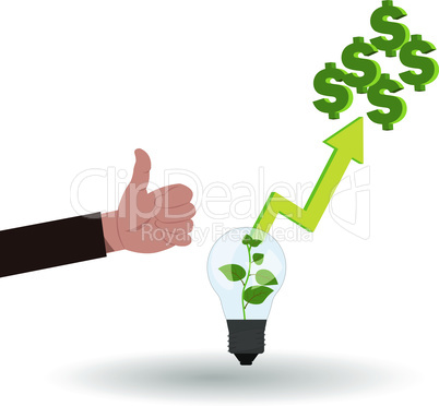 Good business idea vector illustration with hand with like and lamp idea, where growing green money plant inside and araising arrow from there to money on the top