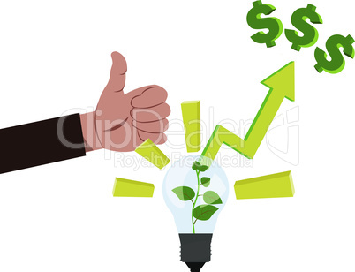 Concept of business idea vector illustration with hand with like and lamp idea, where growing green money plant inside and araising arrow from there to money on the top