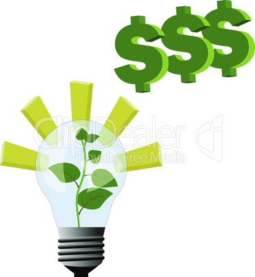 Plant grow inside the lamp light and inspirations for business idea to make money and growing to top
