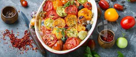 Vegetarian food baked tomatoes
