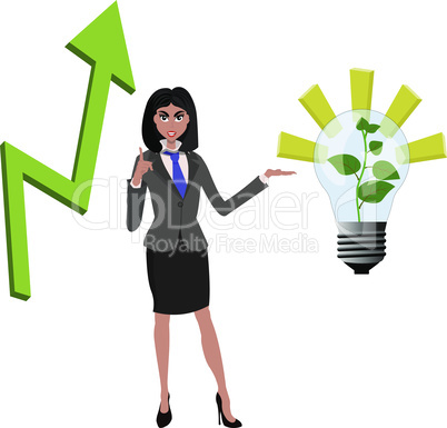Beatifull businesswoman pointing to successfull idea from lamp with growing green plant and arrow araising up. Vector illustration for successfull business concept idea