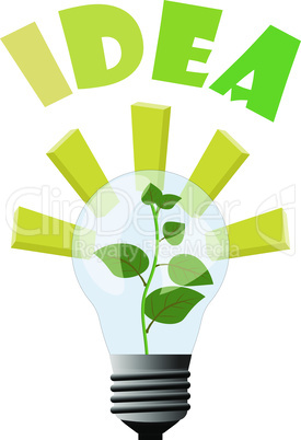 Plant idea growing inside the lamp - light and inspirations for business idea to make money and growing to top