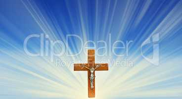 Crucifix in the rays of light