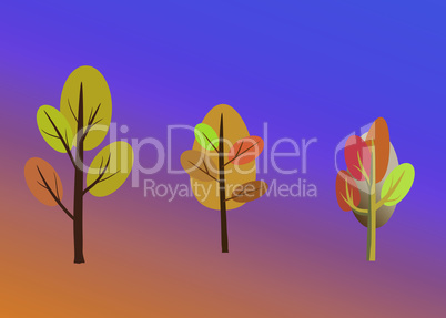 Vector illustration of beautiful futuristic autumn landscape on fantastic background in modern elegant style. Trees with unusual colors in cartoon autumn decoration