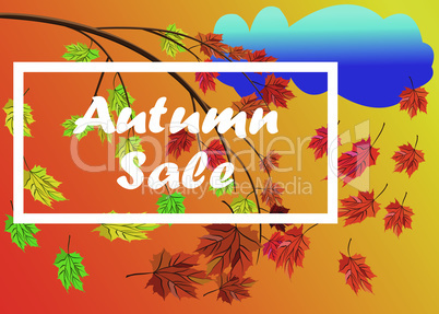 Autumn sale vector banner background with branch with autumn leaves with fall leaves elements, rainy cloud, autumn typography and text in autumn colors background. Vector illustration.