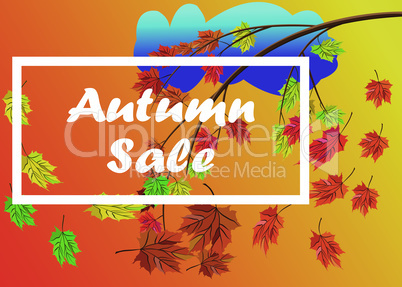Autumn sale vector banner background with branch of autumn leaves with fall leaves elements, rainy cloud, autumn typography and text in autumn colors background. Vector illustration.