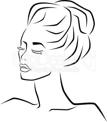 Abstract sensual female face with closed eyes