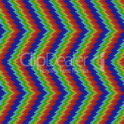 Seamless knitting pattern with zigzag lines