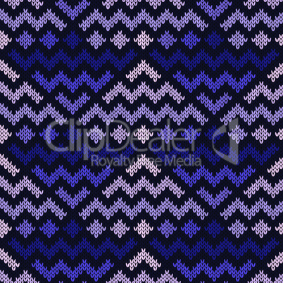 Seamless knitting geometrical pattern in violet hues