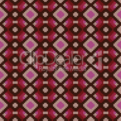 Seamless knitting vector pattern in red, brown, pink and beige colors as a knitted fabric texture