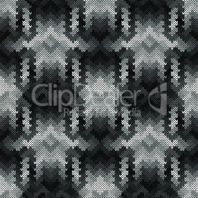 Monochrome knitted seamless pattern