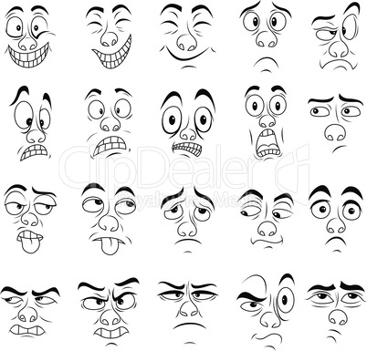 Set of twenty amusing male grimaces
