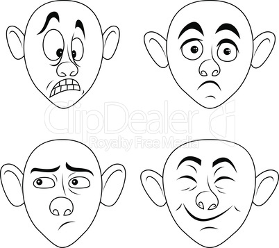 Set of four male grimaces