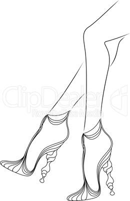 Graceful women's feet in elegant shoes