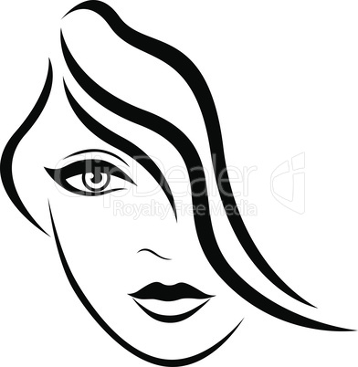 Abstract face of young lady