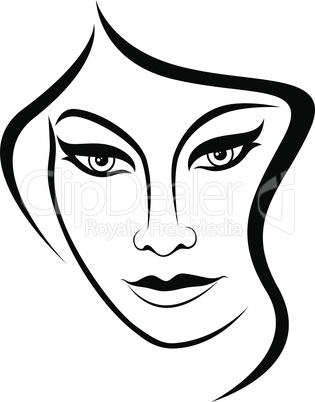 Abstract face of attractive woman