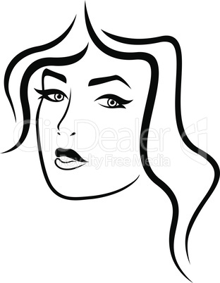 Abstract face of charming lady