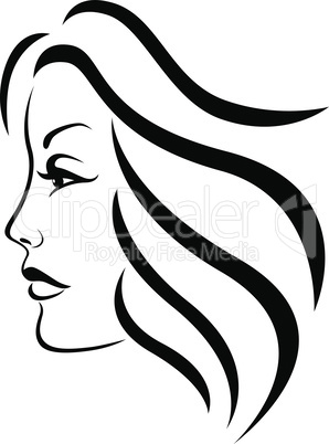 Abstract face of charming woman