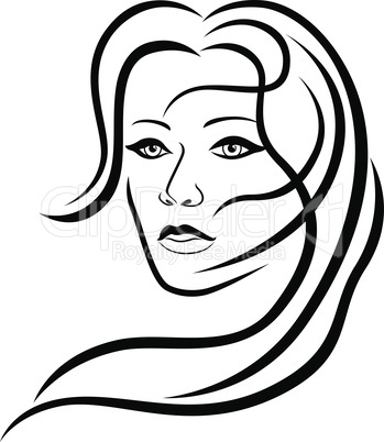 Abstract attractive woman with sensual face