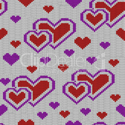 Decorative knitting seamless pattern for Valentine's Day