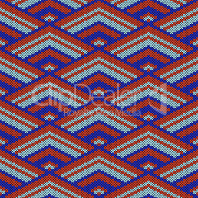 Seamless geometrical decorative knitted pattern