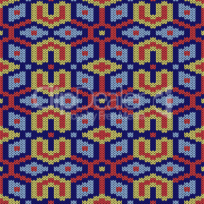 Ornate geometrical seamless knitted pattern
