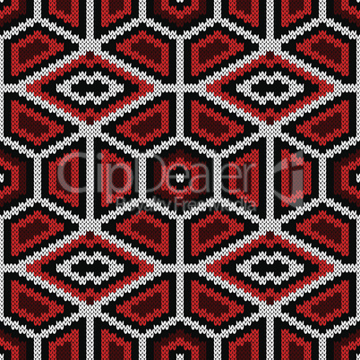 Knitting ornate seamless pattern in red, black and white colors