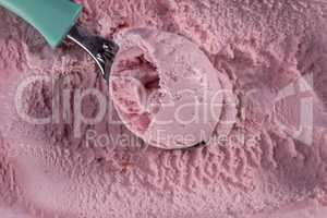 Strawberry ice cream with scoop