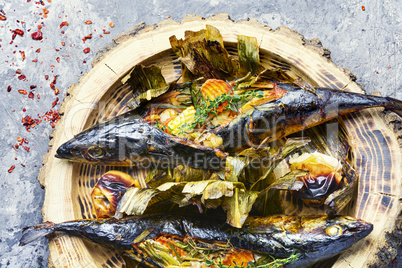 Baked fish with pumpkin filling