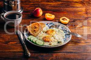 Breakfast toast with fried eggs with vegetables, fruits and coff