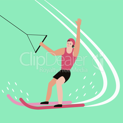 Water skier have fun on the sea. Water sport