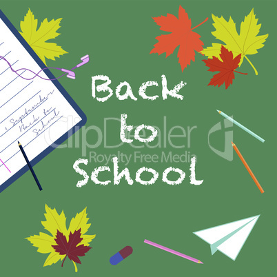 Back to school - chalk inscription and pencils, eraser, notebook, autumn leaves, paper airplane  top view.