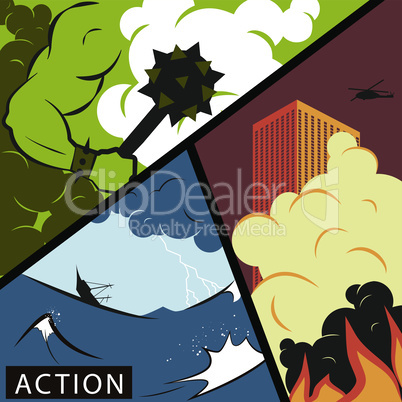 Comic wars. Action movie poster concept.