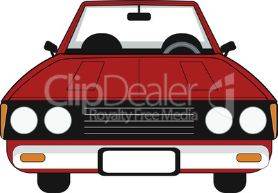 Red passenger car