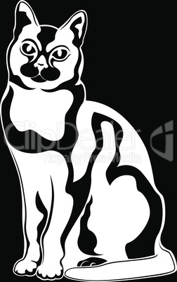 Black abstract cat stencil