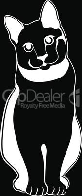 Black stencil of cute abstract kitten
