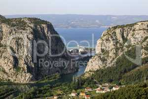 Cetina river canyon and mouth in Omis