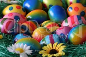 Easter traditions. Compositions with painted Easter eggs