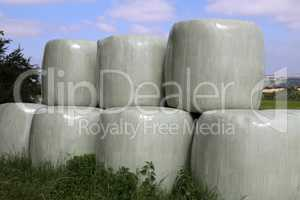 Countryside field with hay bale wrapped in plastic