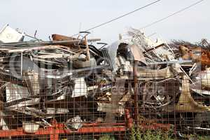 Heap of scrap metal stored for recycling