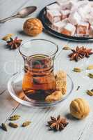 Tea with turkish delight Rahat Lokum and different spices
