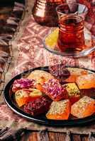 Oriental delight rahat lokum with tea in armudu