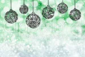 Christmas Tree Ball Ornament, Copy Space, Green Background