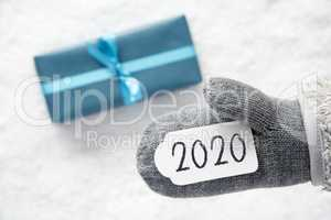Turquoise Gift, Glove, Text 2020, Snowy White Background