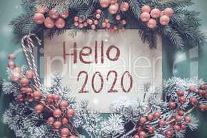 Christmas Garland, Fir Tree Branch, Snowflakes, Text Hello 2020