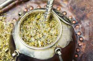 Yerba mate tea in a calabash gourd